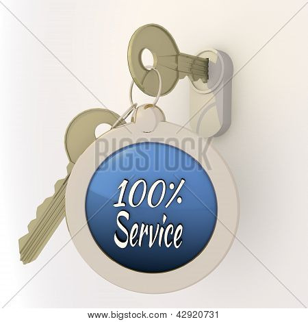 Locked unlocked 100 percent service icon on key pendant
