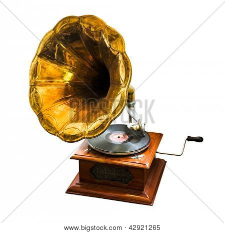 wooden vintage antique old gramophone on white background