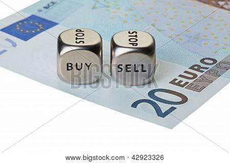 Two Metal Dices With Words Buy And Sell On Twenty-euro Banknote, Isolated On White Background. Selec