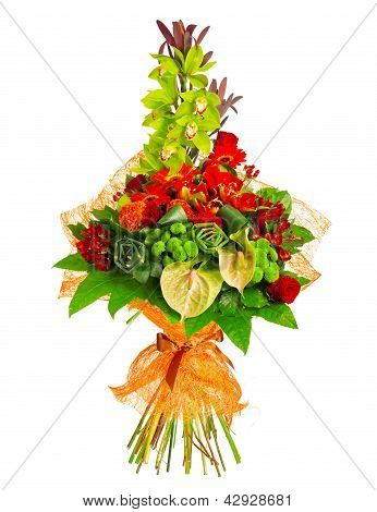 bouquet of rose, gerbera, orchid and anthurium