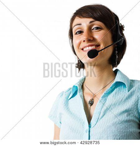 Porträt einer schönen Kundenrepräsentant lächelnd