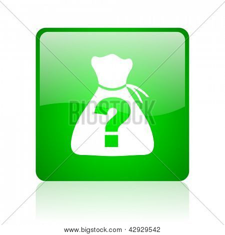 riddle green square web icon on white background