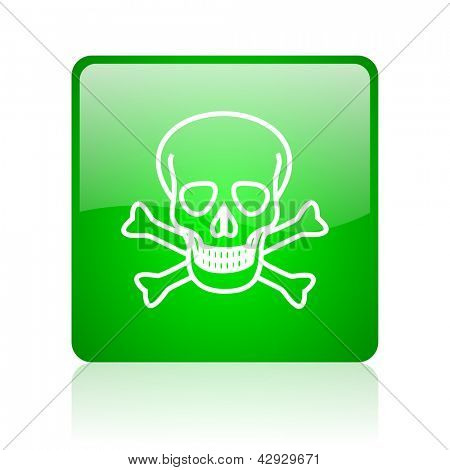 skull green square web icon on white background