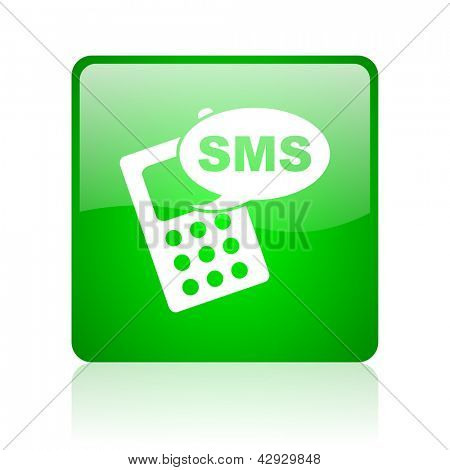 sms green square web icon on white background
