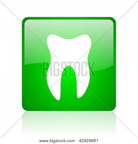 tooth green square web icon on white background