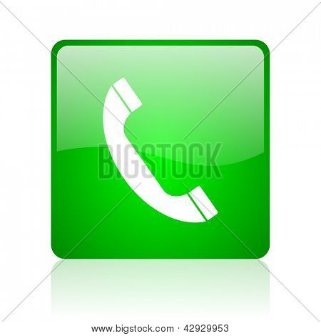 phone green square web icon on white background