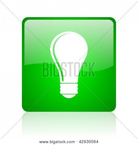 light bulb green square web icon on white background