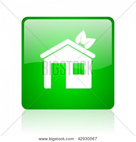 home green square web icon on white background