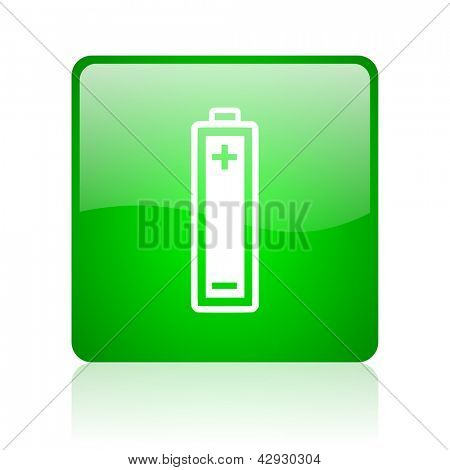 battery green square web icon on white background