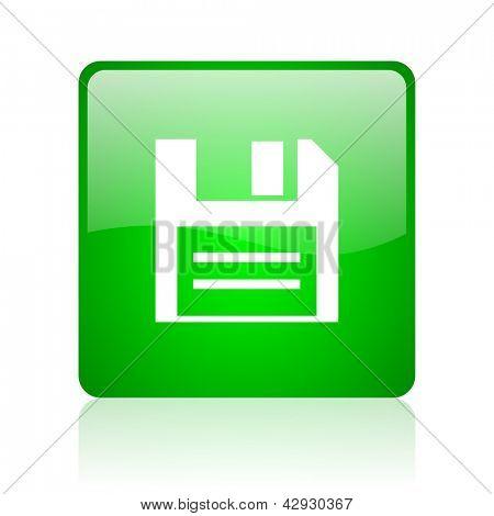 grüne Quadrat Web Diskettensymbol auf weißem Hintergrund