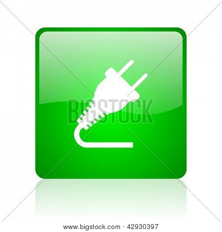 plug green square web icon on white background