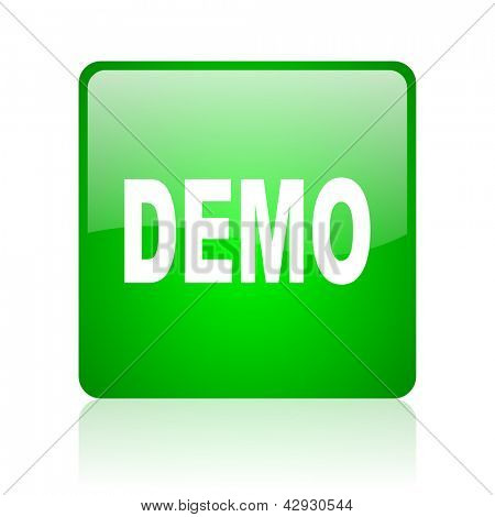 demo green square web icon on white background
