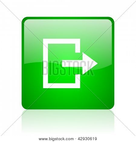 exit green square web icon on white background