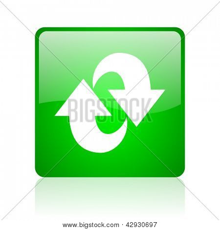 rotate green square web icon on white background