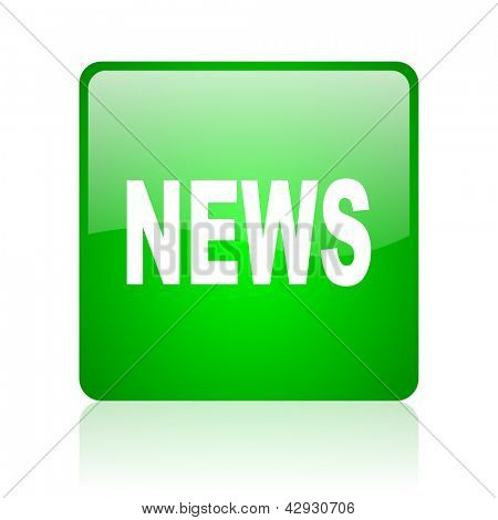 news green square web icon on white background