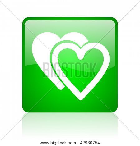 love green square web icon on white background
