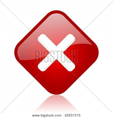 cancel red square glossy web icon
