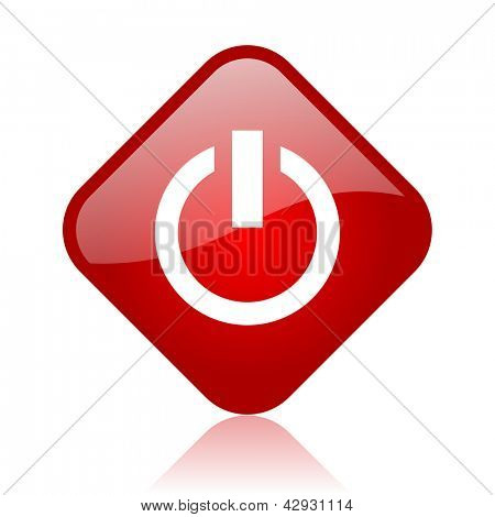 power red square glossy web icon