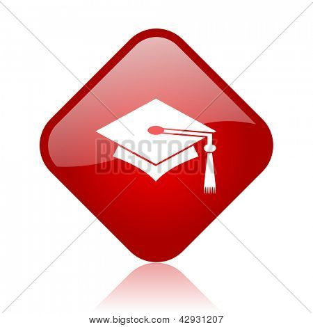 graduation red square glossy web icon