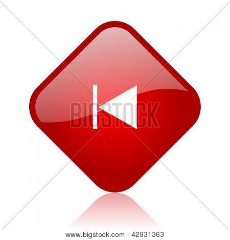 prev red square glossy web icon