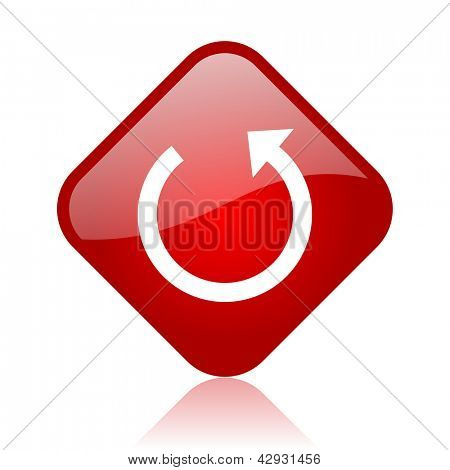 rotate red square glossy web icon