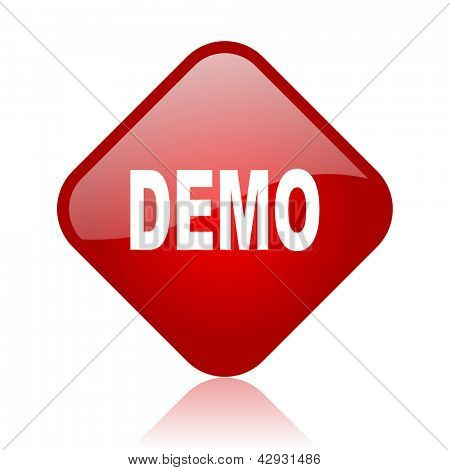 demo red square glossy web icon