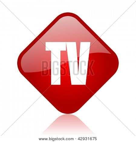 tv red square glossy web icon