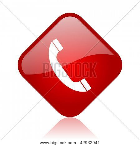 phone red square glossy web icon