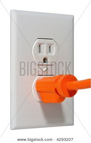 Electric Wall Outlet Receptacle With Plug