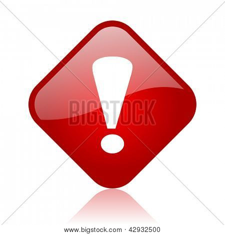 exclamation sign red square glossy web icon