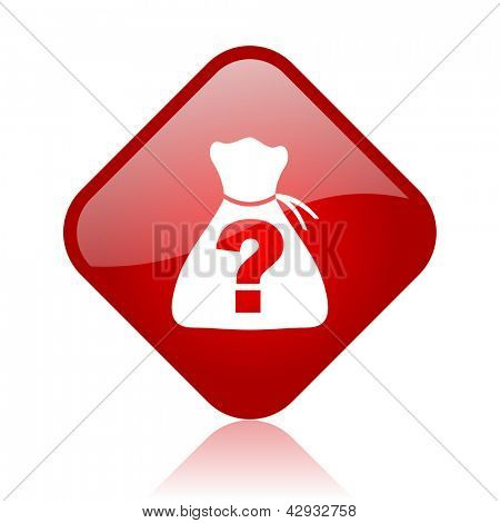 riddle red square glossy web icon