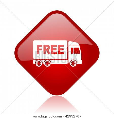 free delivery red square glossy web icon