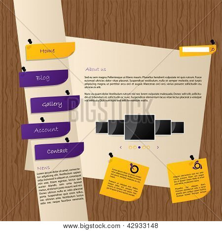 Website Template Design With Wooden Background