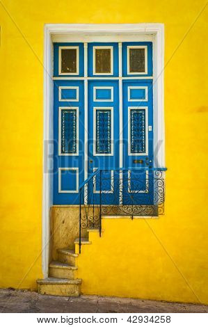 Colorful door in an old colonial house in Havana