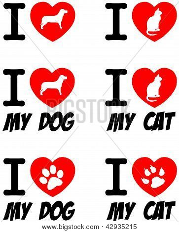 I Love Dog and Cat Signs.Collection