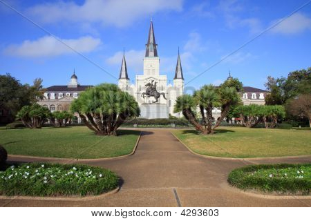 Wide Angle View Of St. Louis Cathedral