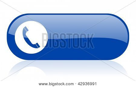 phone blue web glossy icon