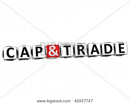 3D Cap And Trade Button Click Here Block Text