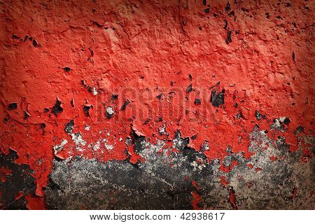 Grunge Background With Red Cracked Paint