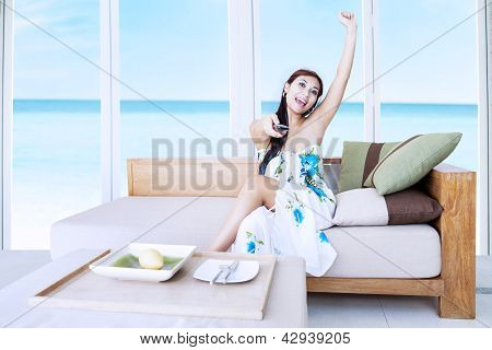 Attractive Woman Watching Movie