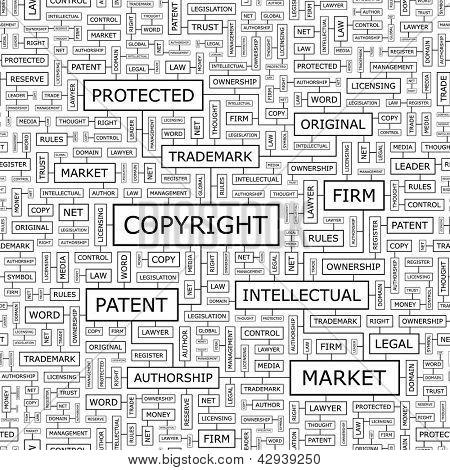 COPYRIGHT. Word collage. Seamless illustration.