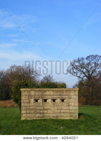 Front Head-on View Of World War Two Pill Box Bunker