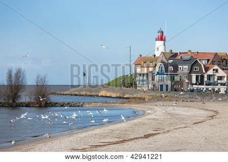 Cityscape Of Urk Seen From The Beach