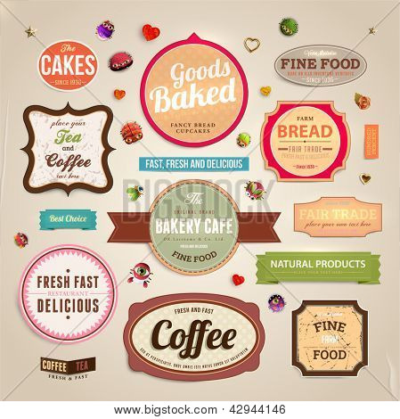 Set of retro bakery and coffee labels, ribbons and cards for vintage design, old paper textures