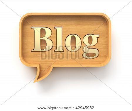 Wooden blog speech bubble