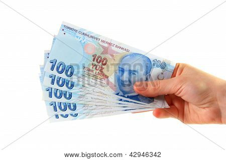 Woman Holding Turkish Lira