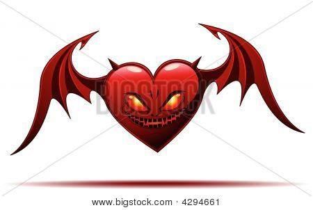 Devil Heart - Isolated On White