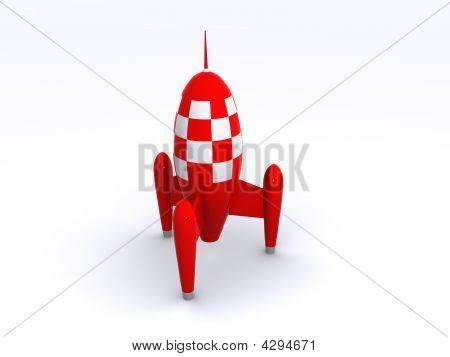 A Big Red Retro Rocket Toy