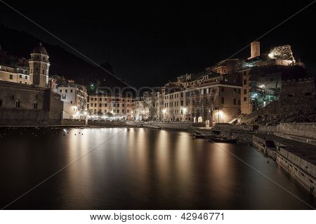 Vernazza , Night Photo On Harbor And Village Skyline. Cinque Terre, Liguria Italy