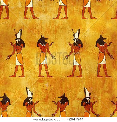 Seamless background with Egyptian gods images - Anubis and Horus